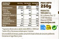 Arroz integral con trigueros - Información nutricional