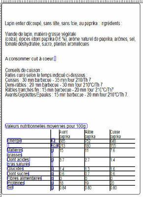 MORCEAUX CHOISIS DE LAPIN AU PAPRIKA - Informations nutritionnelles - fr