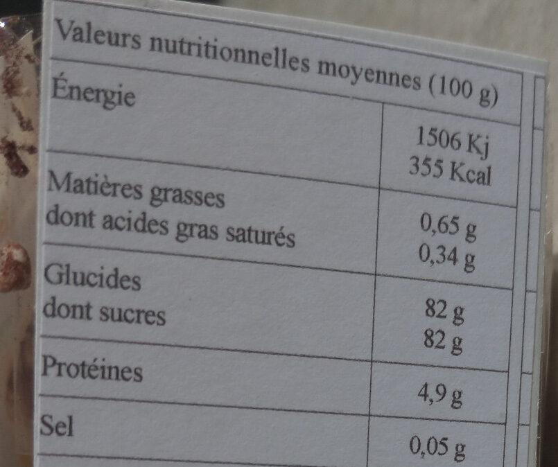 Les savoureuses meringues au cacao - Informations nutritionnelles - fr