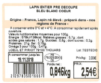 LAPIN ENTIER PRE DECOUPE BLEU BLANC COEUR - Ingrediënten - fr