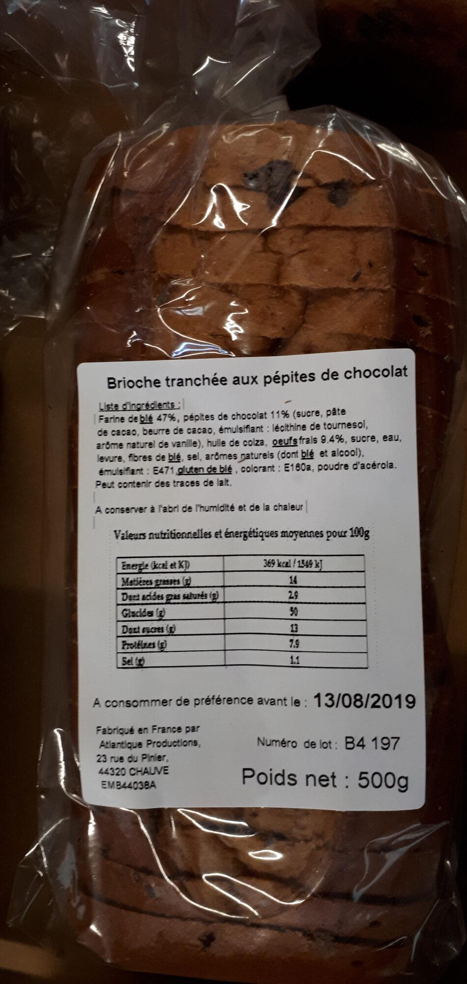 Brioche tranchée aux pépites de chocolat - Product
