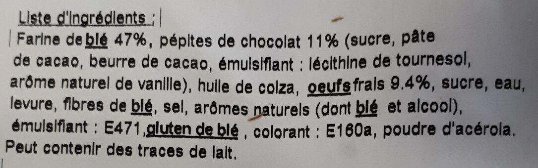 Brioche tranchée aux pépites de chocolat - Ingrediënten