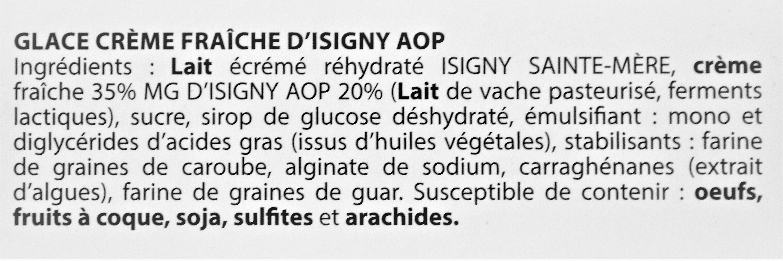 Glace CRÈME FRAÎCHE D'ISIGNY - Ingredients