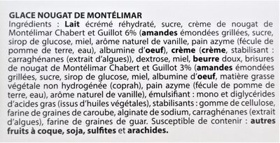 Glace NOUGAT de Montélimar Chabert & Guillot - Ingredients