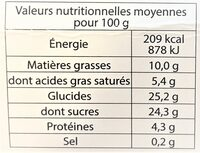 Glace VANILLE MACADAMIA - Nutrition facts