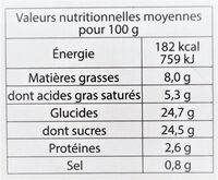 Glace CARAMEL BIO - Nutrition facts