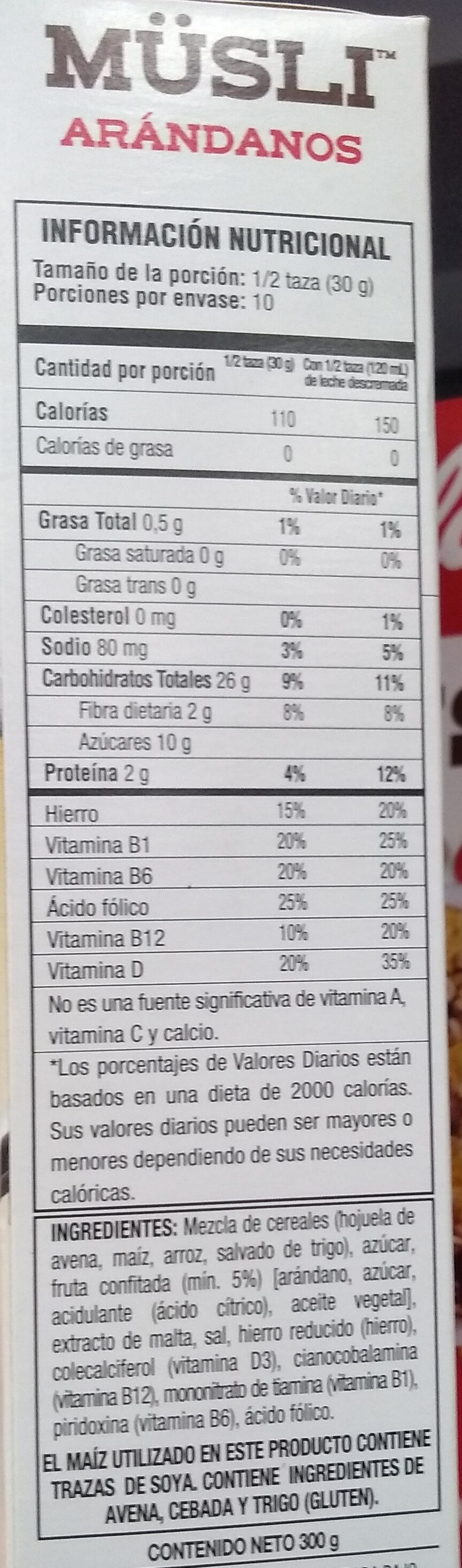 MUSLI - Informations nutritionnelles