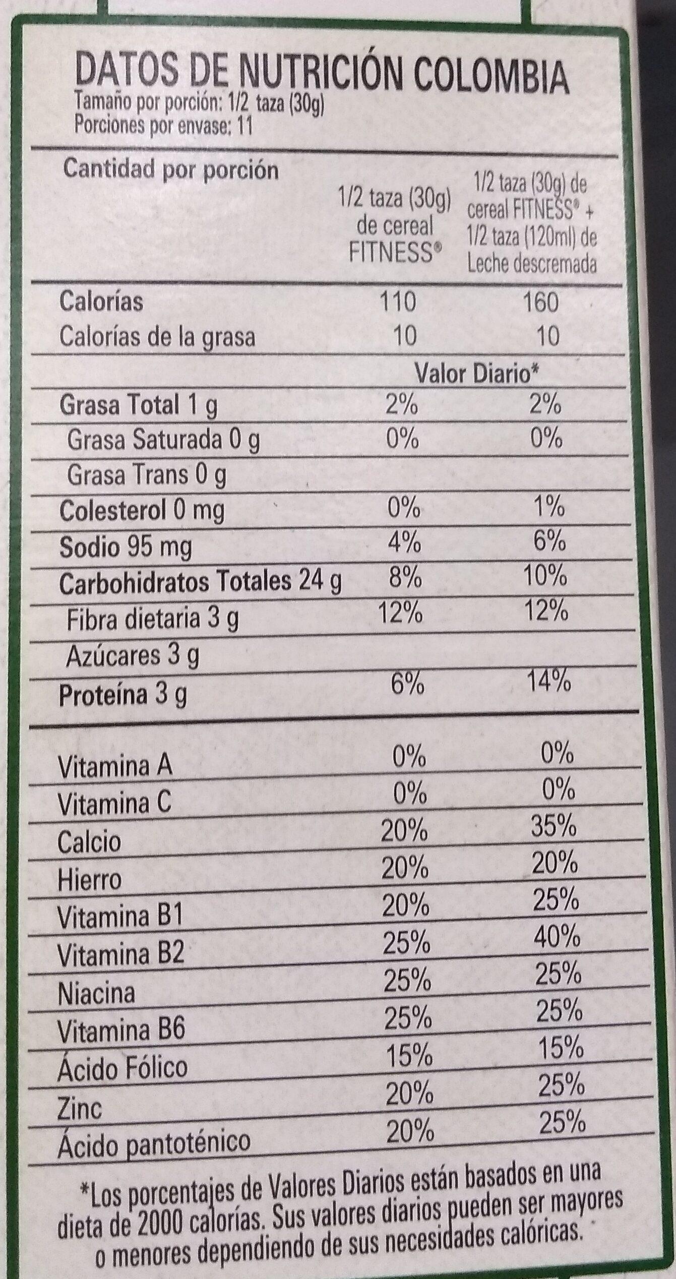 Fitness Original - Informations nutritionnelles