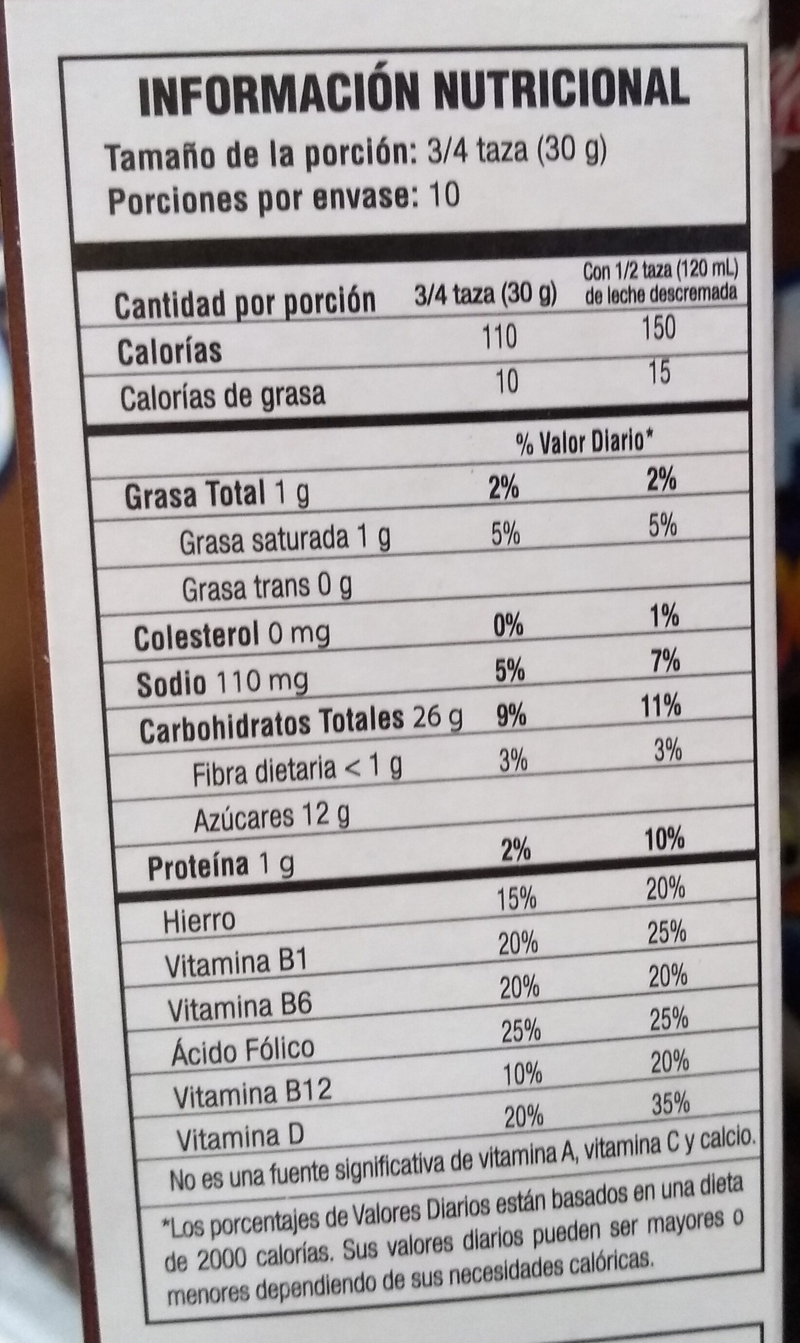 Zucaritas Sabor Chocolate - Informations nutritionnelles