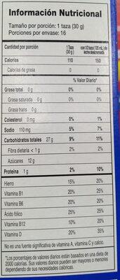 Zucaritas - Informations nutritionnelles