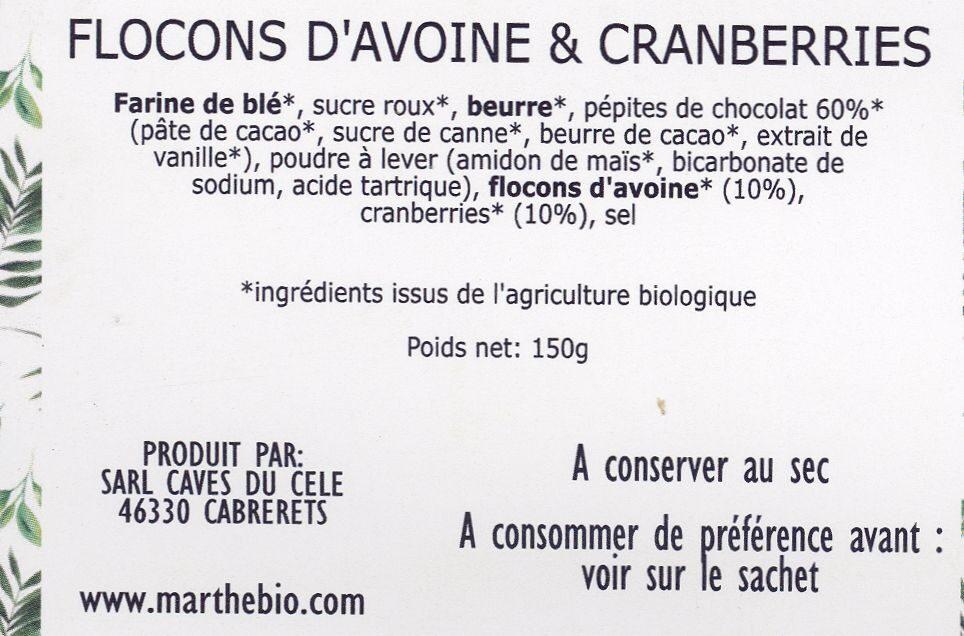 Cookies Flocons d'avoine & Cranberries - Ingredients - fr