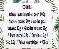 Cookies Flocons d'avoine & Cranberries - Nutrition facts - fr