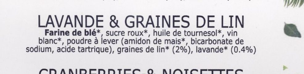 Croquants, lavande & graines de lin - Ingredients - fr