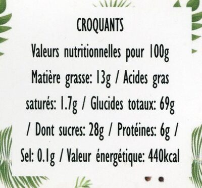 Croquants, lavande & graines de lin - Nutrition facts - fr