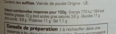 Tajine de poulet aux fruits séchés - Nutrition facts - fr