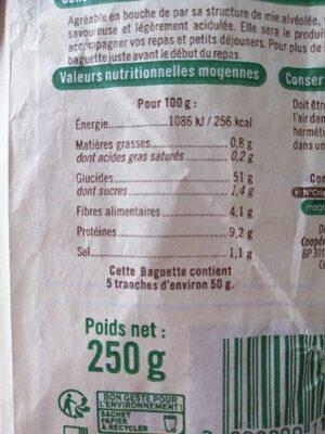 Baguette u bio 250g - Valori nutrizionali - fr