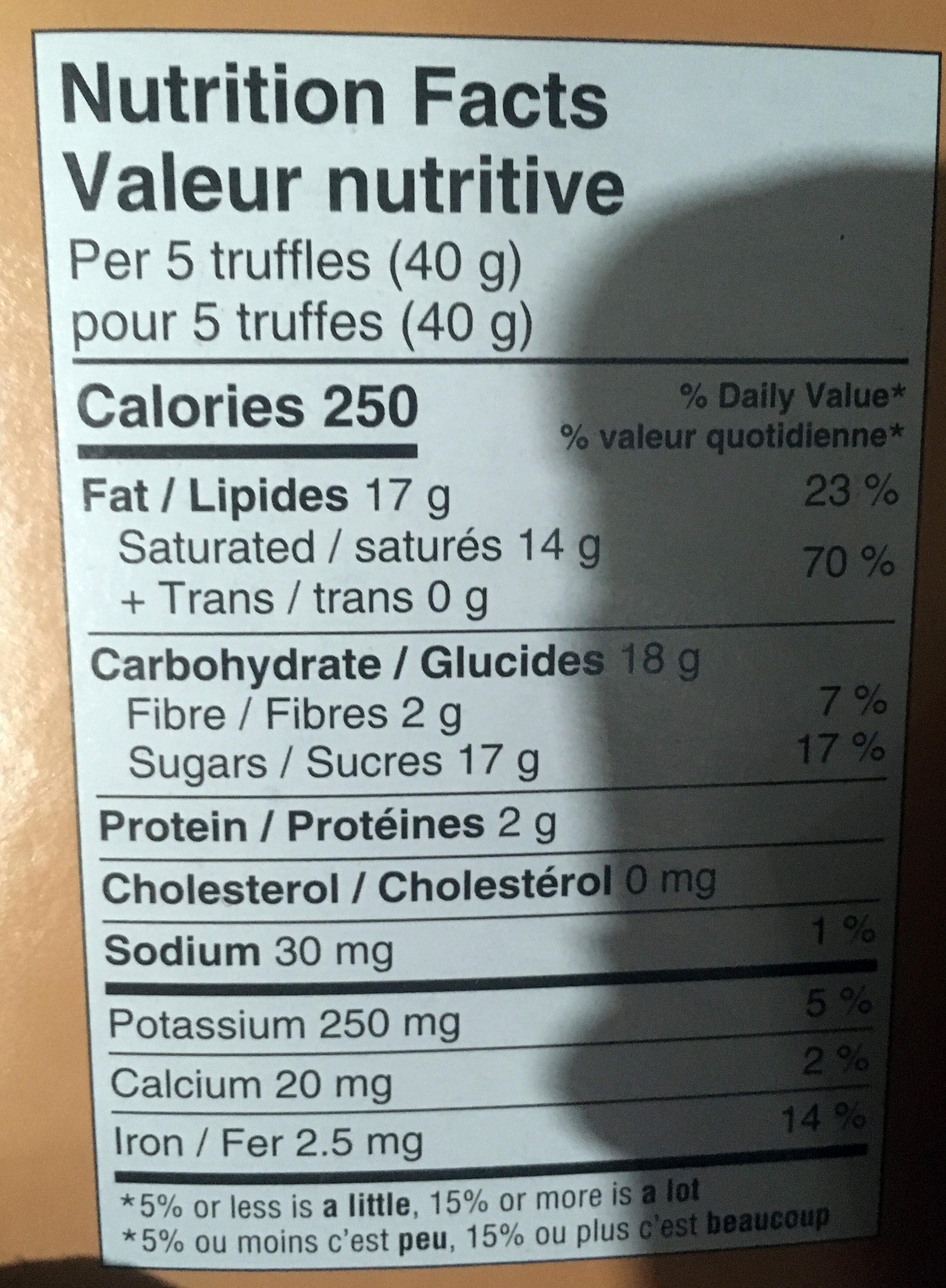Selection Premium Chocolate Truffles - Nutrition facts - en