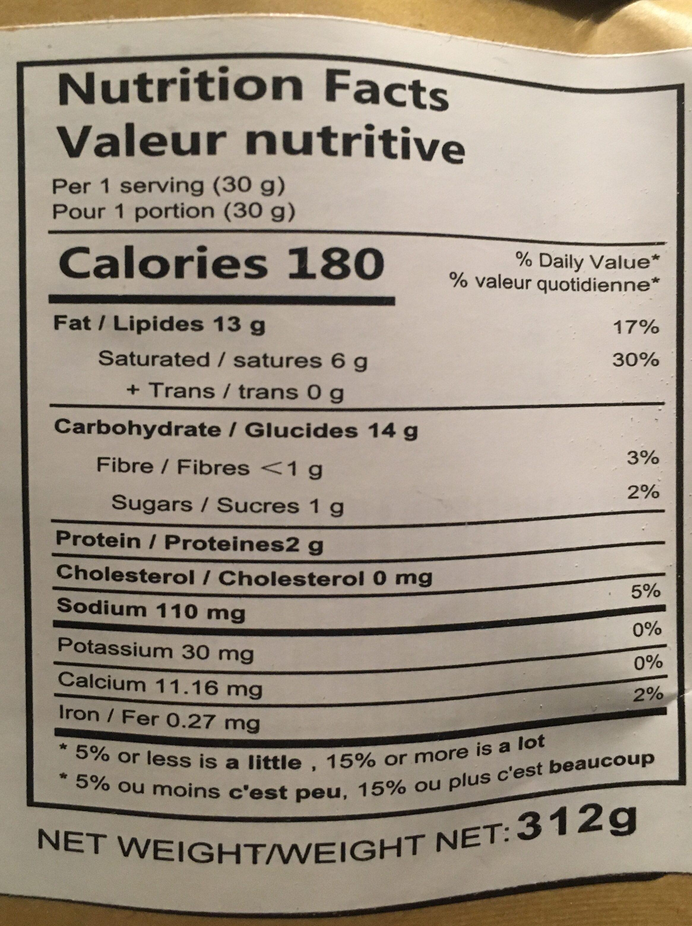 Huiji Fired Mini Dough Twist - Informations nutritionnelles - en