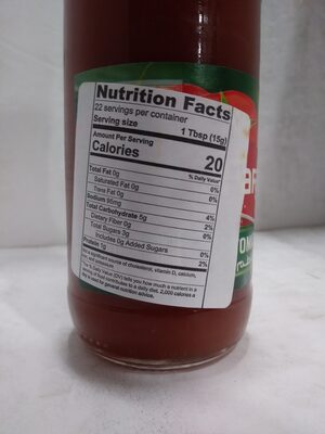 Tomato Ketchup - Valori nutrizionali - en