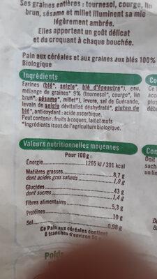 Pain aux cereales - Ingredients - fr