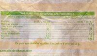 Pain aux cereales - Nutrition facts - fr