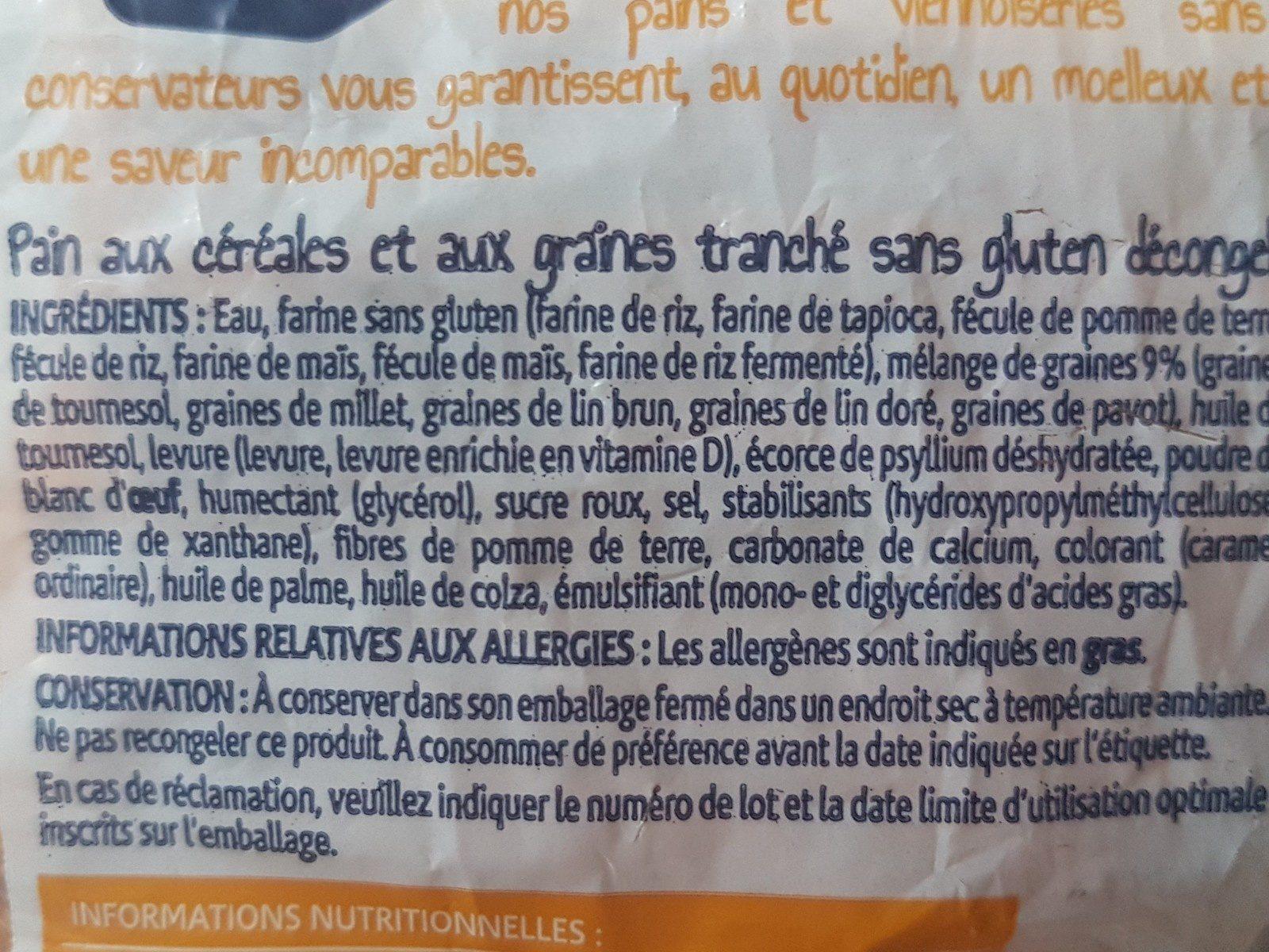 pain sans gluten decongele - Ingrédients - fr