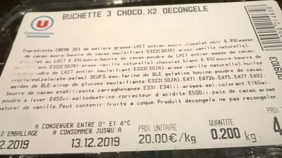 BUCHETTE 3 CHOCO. X2 DECONGELE - Ingredients - fr