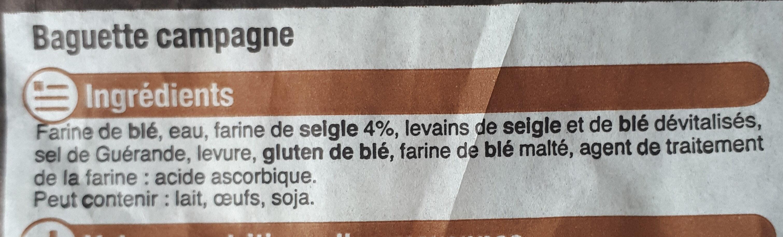 Baguette de campagne - Ingredienti - fr
