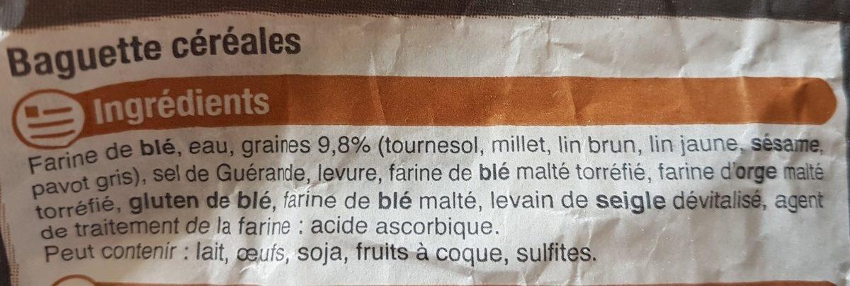 Baguette Céréales - Ingredients