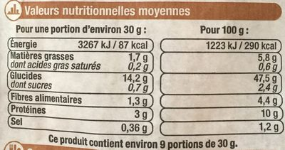 Baguette Céréales - Nutrition facts