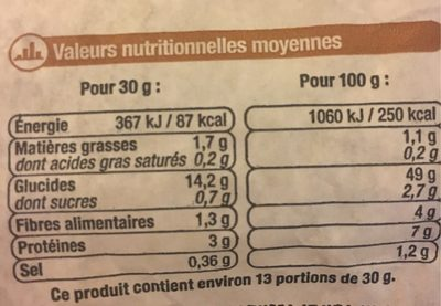 Pain batard céréales, sélection U, 1 pièce - Nutrition facts
