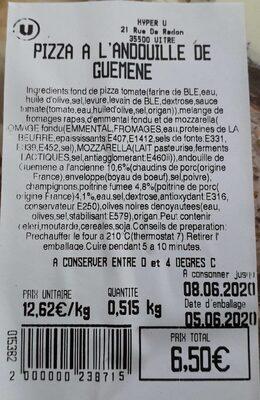 Pizza à l'andouille de Guéméné - Ingrédients - fr