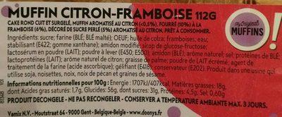 Muffin citron framboise - Ingrédients - fr