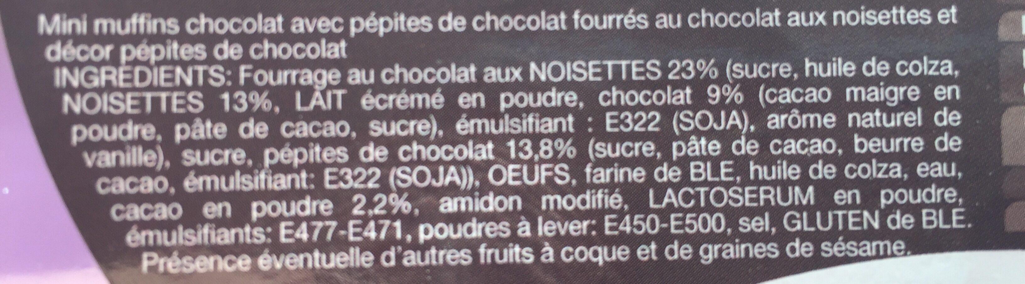 Mini muffins coeur fondant chocolat noisettes - Ingrediënten