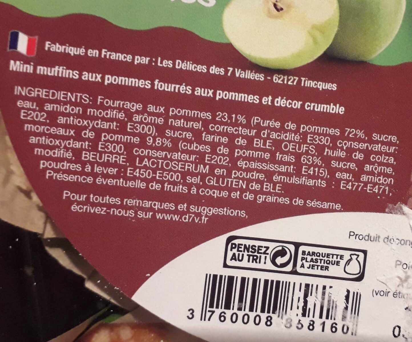 Mini muffins coeur fondant aux pommes - Ingrédients - fr
