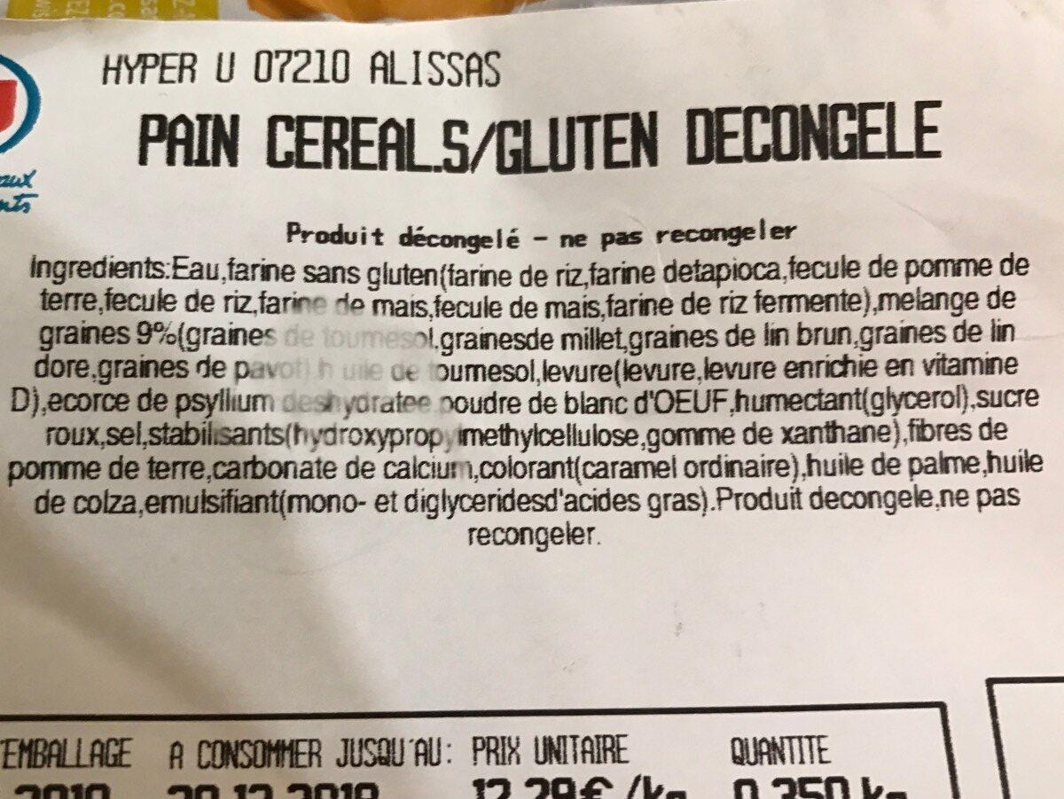 Pain aux céréales sans gluten - Ingrédients - fr