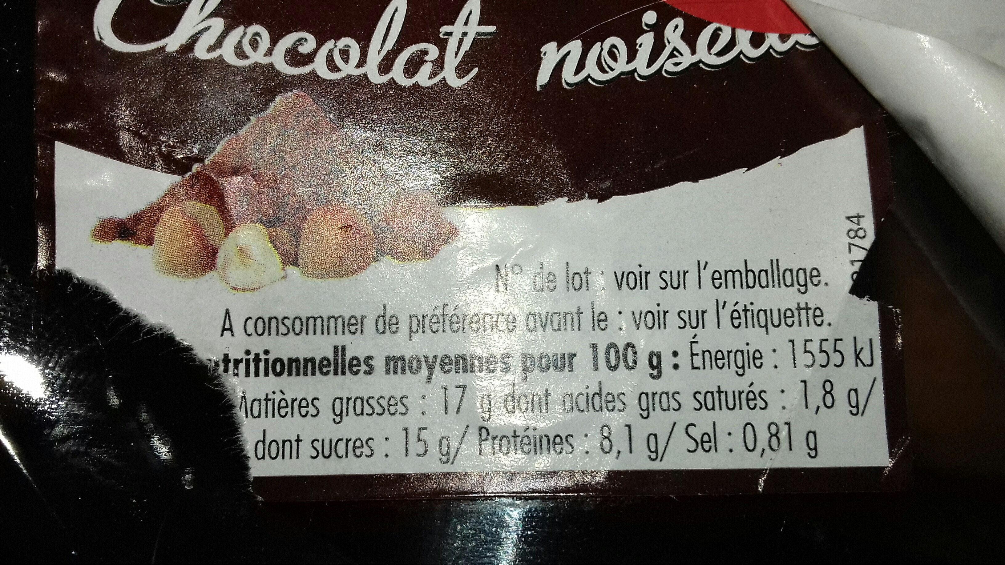 Beignets chocolat noisette - Informations nutritionnelles
