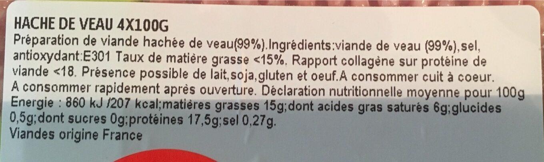 Hachés de veau - Voedingswaarden - fr