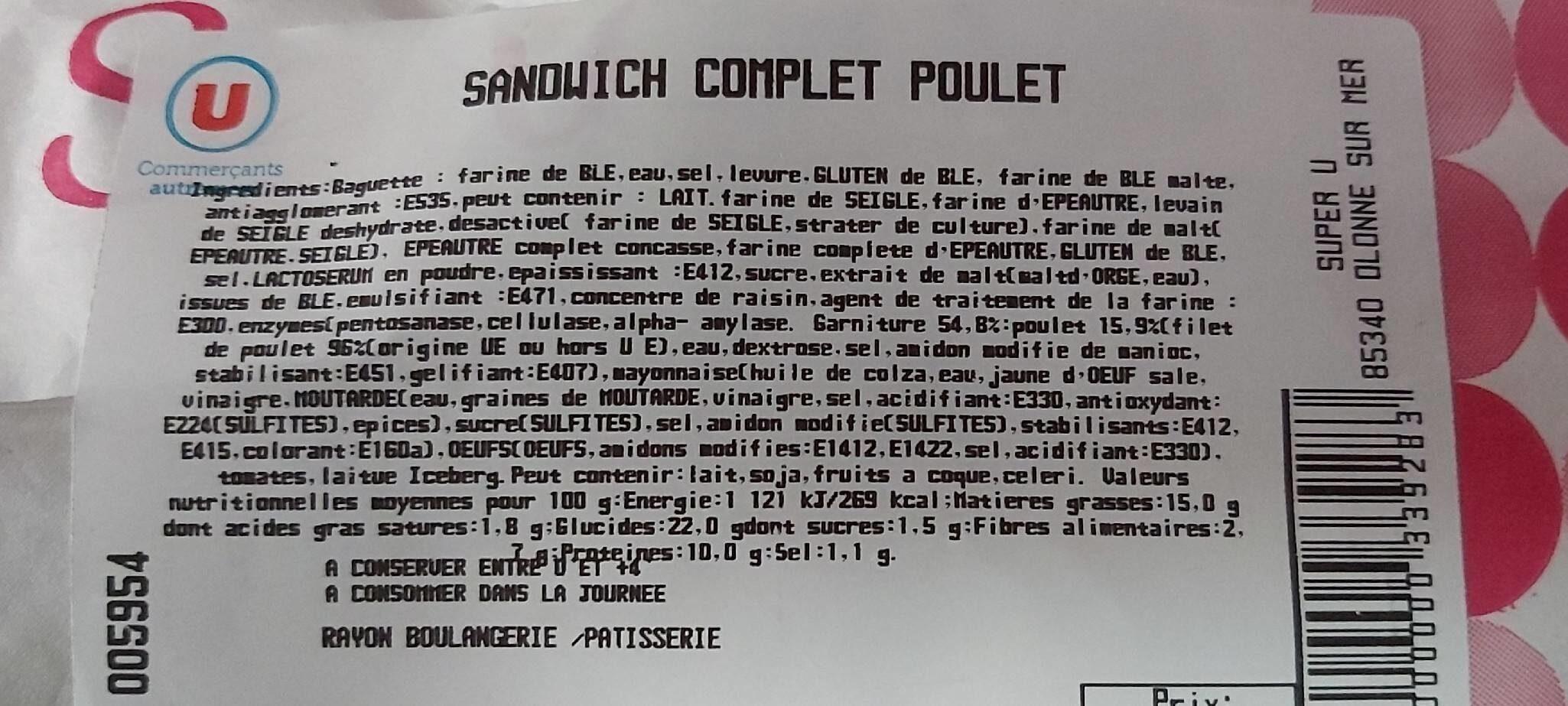 Sandwich complet poulet - Valori nutrizionali - fr