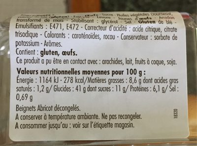 Beignets Abricot - Nutrition facts