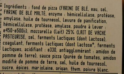 Pizza fraiche 4 fromages - Ingredients