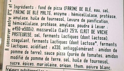 Pizza fraiche 4 fromages - Nutrition facts