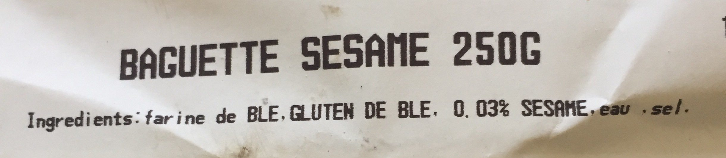 Baguette sesame - Ingrédients - fr