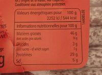 Les allumettes du papy Balme noisettes - Informations nutritionnelles - fr