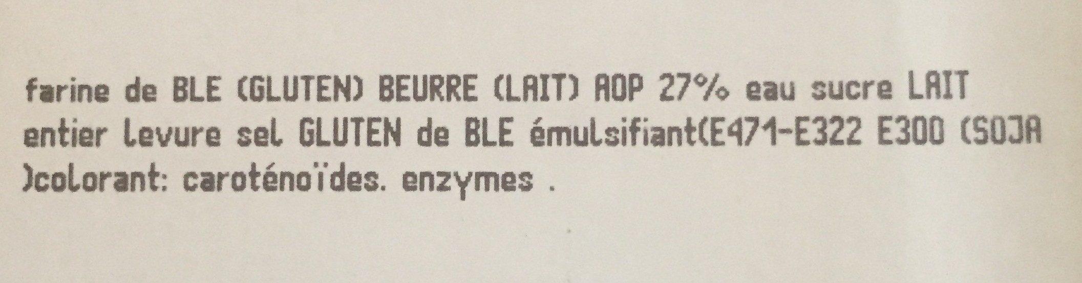 Croissant courbe beurre - Ingrediënten