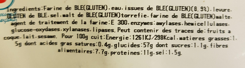 Pain à la farine complète - Informations nutritionnelles