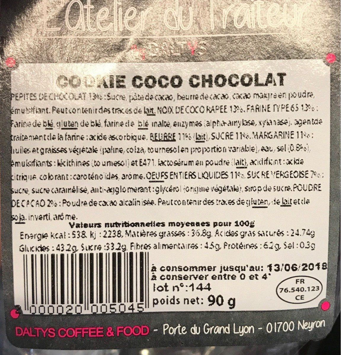 Cookie coco chocolat - Produit