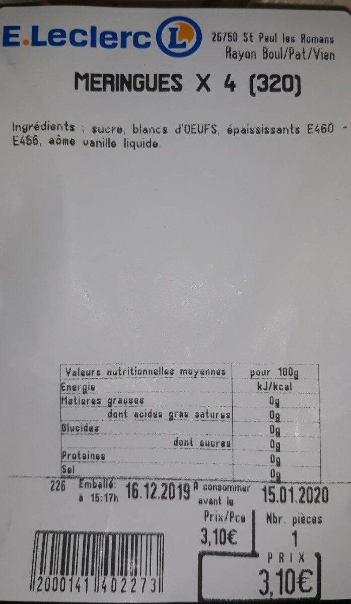 Meringues maison e. Leclerc - Nutrition facts
