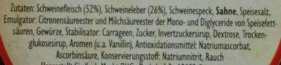 Pommersche Leberwurst - Inhaltsstoffe