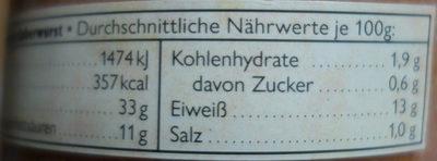 Pommersche Leberwurst - Nährwertangaben